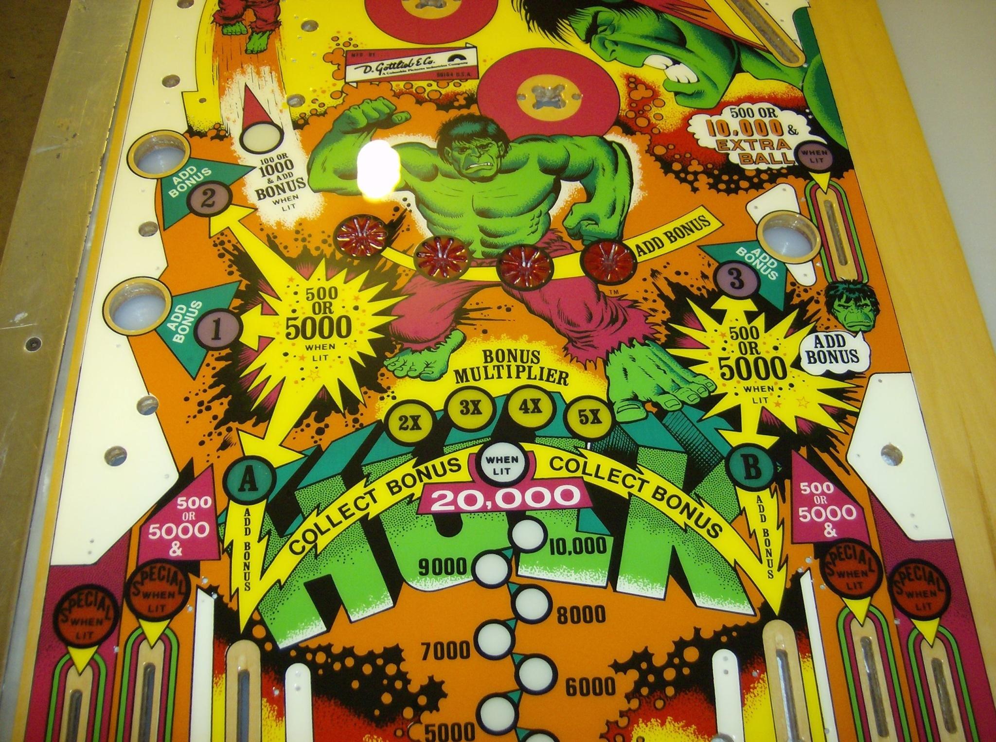 Incredible Hulk Gottlieb 1600 Sold Kruzman
